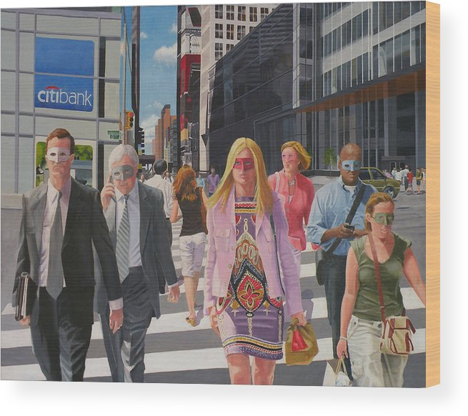 People Wood Print featuring the digital art Hidden Personalities by Lou Spina