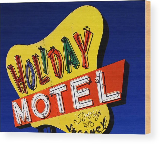 Color Wood Print featuring the photograph Holiday Motel by Curtis Staiger