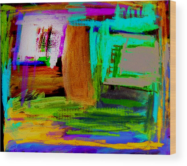Abstract Wood Print featuring the mixed media House by Alfred Resteghini