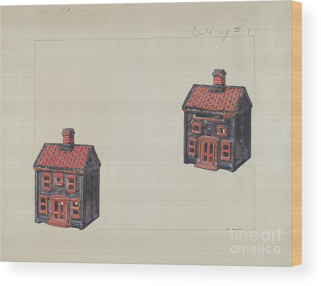 Wood Print featuring the drawing House Coin Bank by Alf Bruseth