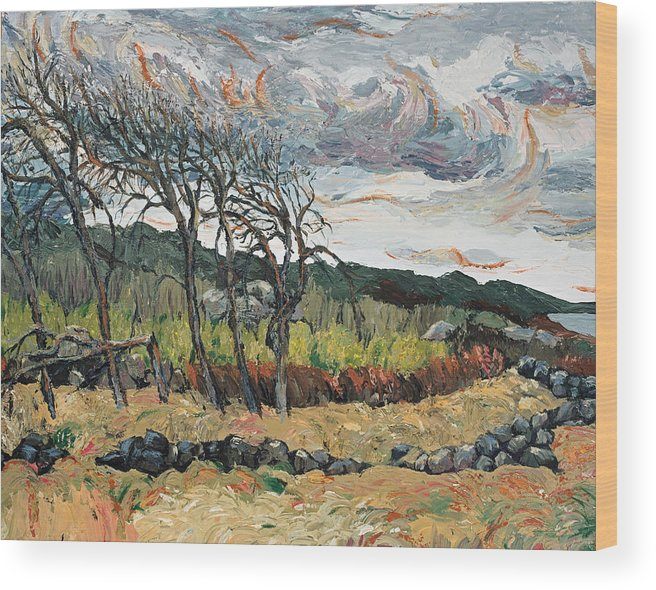 Landscape Wood Print featuring the painting Howling Winds Sweden by Art Nomad Sandra Hansen