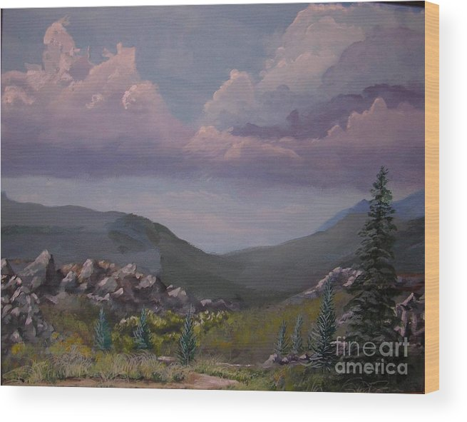 Mountains Wood Print featuring the painting Hualapai Mountains by John Wise