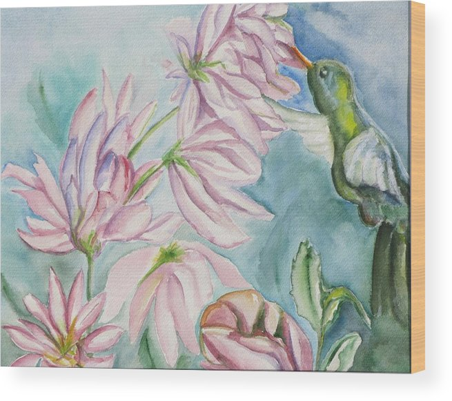 Nature Wood Print featuring the painting Humming Bird by Kathy Mitchell
