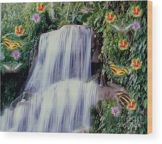 Water Wood Print featuring the photograph Jamaican Waterfalls by Donna Brown