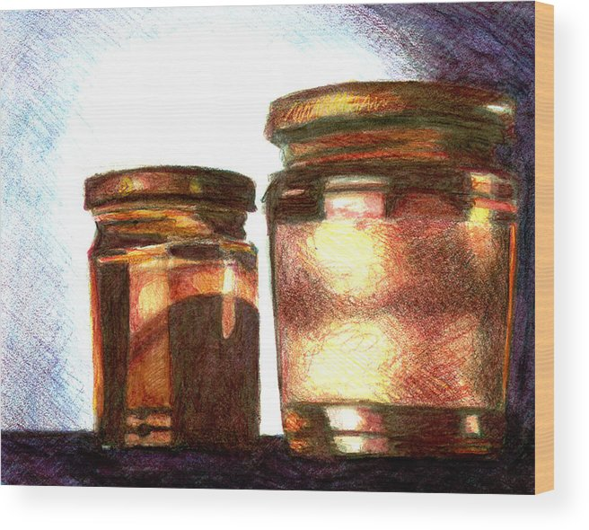 Still Life Wood Print featuring the drawing Jars by Raven Creature