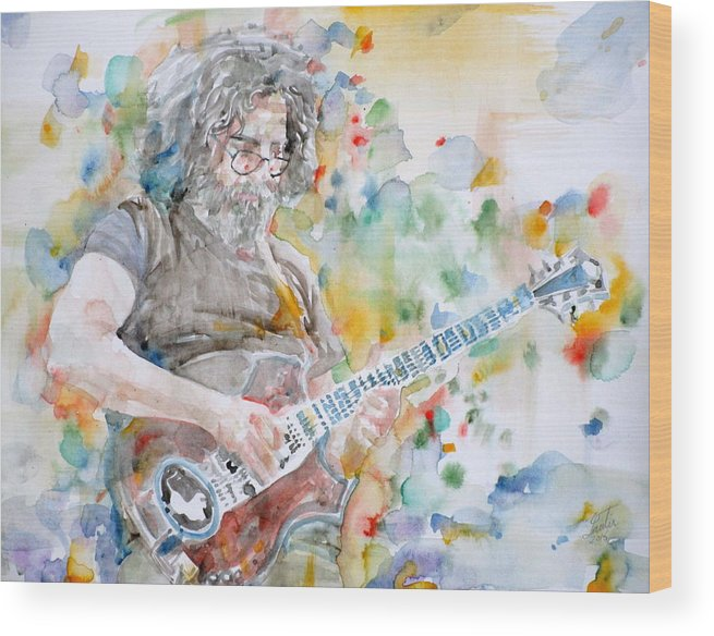 Jerry Garcia Wood Print featuring the painting Jerry Garcia - Watercolor Portrait.15 by Fabrizio Cassetta