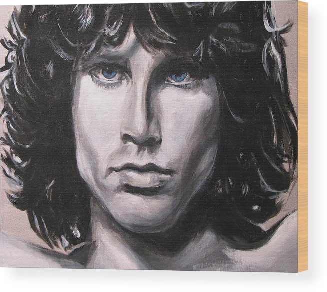 Jim Morrison Wood Print featuring the painting Jim Morrison - The Doors by Eric Dee