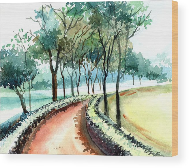 Landscape Wood Print featuring the painting Jogging Track by Anil Nene