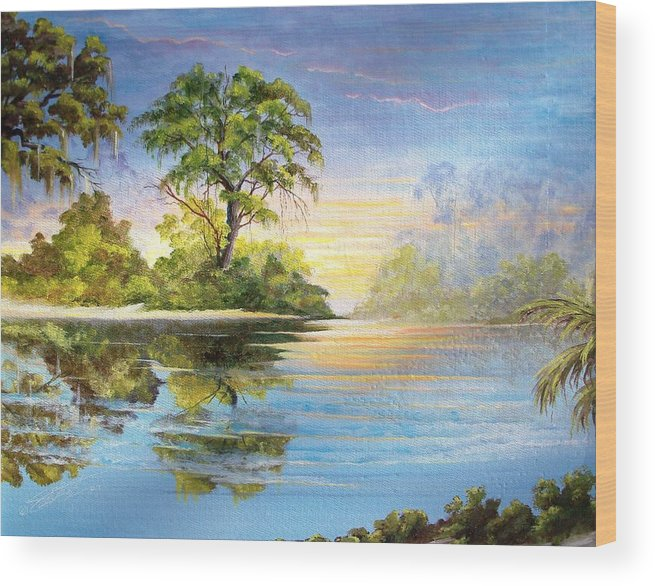 Landscape Wood Print featuring the painting King by Dennis Vebert