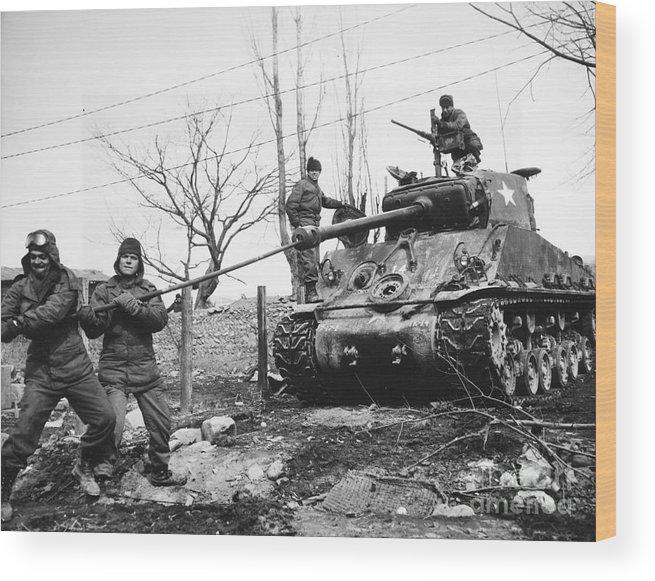1951 Wood Print featuring the photograph Korean War: Tank, 1951 by Granger