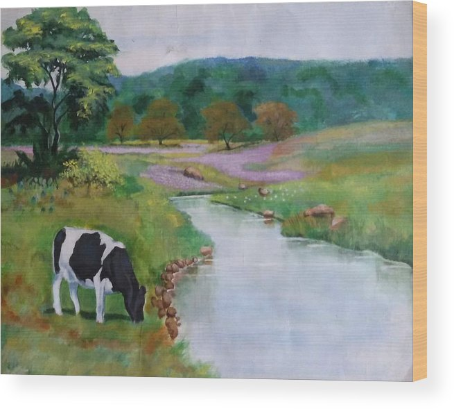 Cow In Field Wood Print featuring the painting Landscape by Vineeth Kumar
