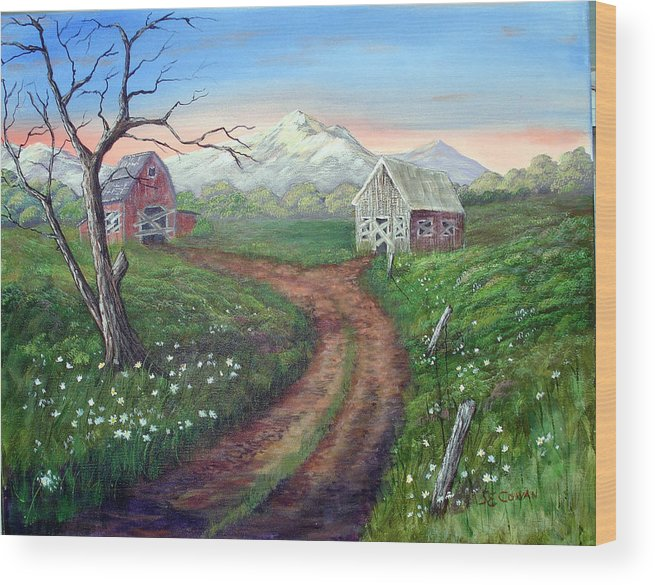 Landscape Wood Print featuring the painting Left Behind - The Old Homestead by SueEllen Cowan