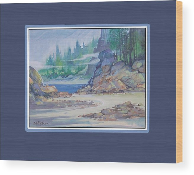 Landscape Seascape Sand And Dunes Forest And Ocean Cove Wood Print featuring the painting Lemonpepper Cove by Walt Green