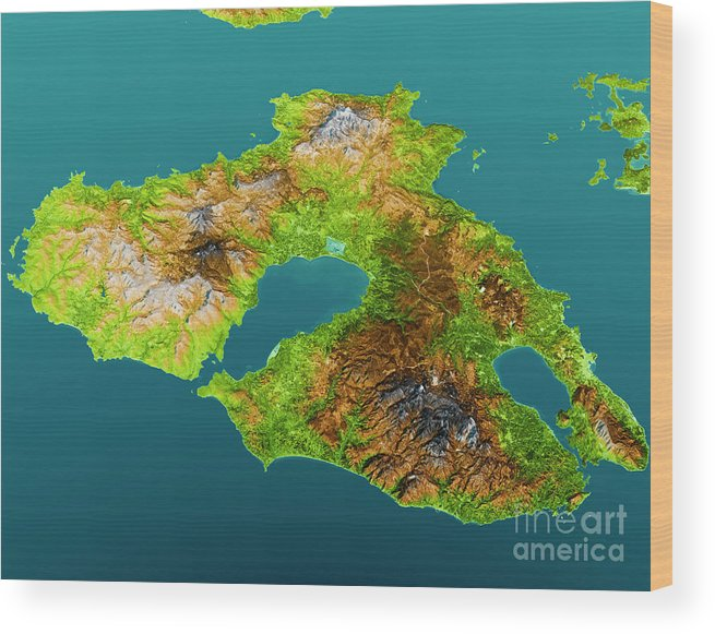 Lesbos Island Topographic Map 3d View Color Wood Print By Frank Ramspott