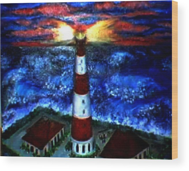 Lighthouse Wood Print featuring the print Light In The Storm by Tanna Lee M Wells