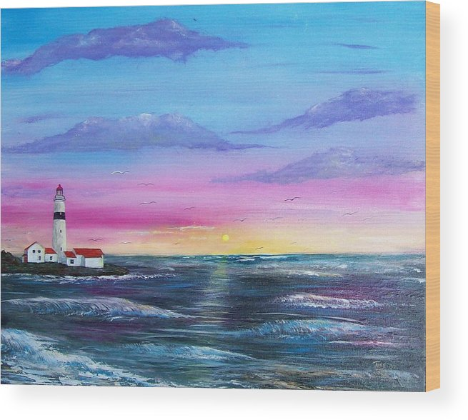 Seascape Wood Print featuring the painting Lighthouse 5 by Tony Rodriguez