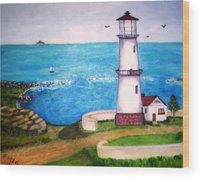 Lighthouse Seascape Sailboats Wood Print featuring the painting Lighthouse Glory by Gloria M Apfel