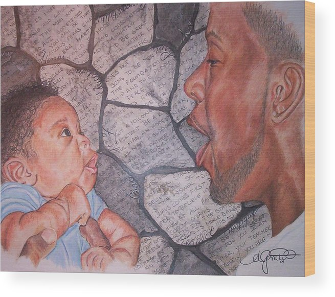 Wood Print featuring the pastel Listentome- Thevoicethatbuildsafoundation by Angela Mustin