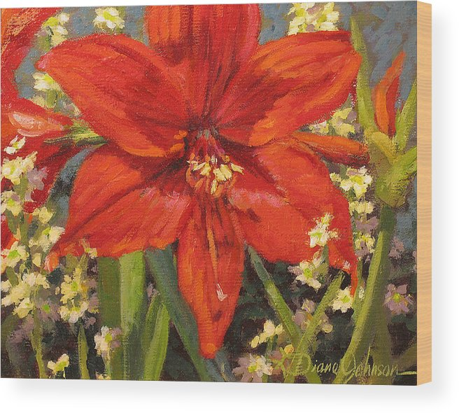 Red Flower Blossom Wood Print featuring the painting Lone Beauty by L Diane Johnson