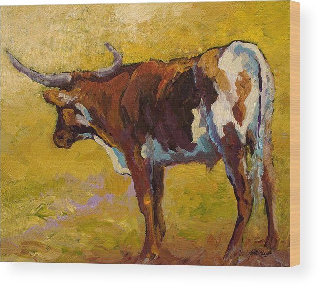 Longhorn Wood Print featuring the painting Longhorn Study by Marion Rose