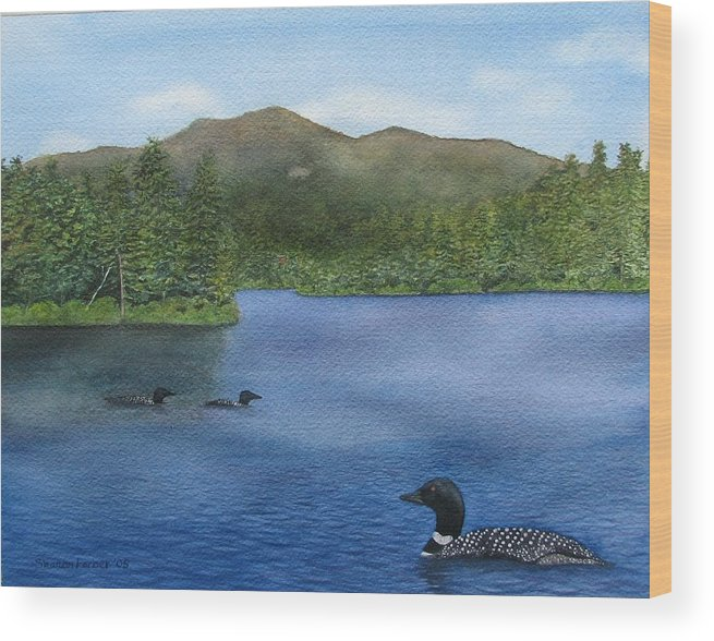 Loon Wood Print featuring the painting Loon Lake by Sharon Farber