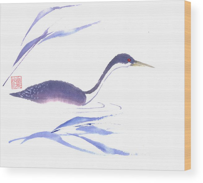 A Lone Loon Swimming Through The Tall Grass. This Is A Contemporary Chinese Ink And Color On Rice Paper Painting With Simple Zen Style Brush Strokes.  Wood Print featuring the painting Loon by Mui-Joo Wee