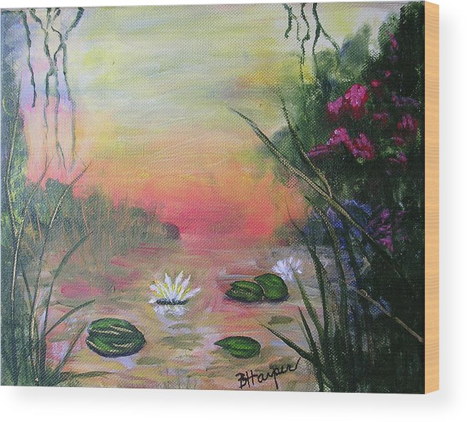 Lotus Wood Print featuring the painting Lotus Pond Fantasy by Barbara Harper