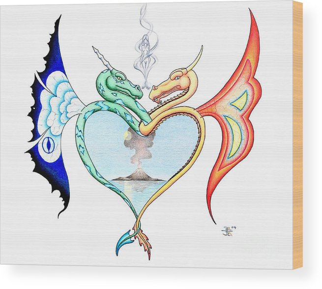 Fantasy Wood Print featuring the drawing Love Dragons by Robert Ball