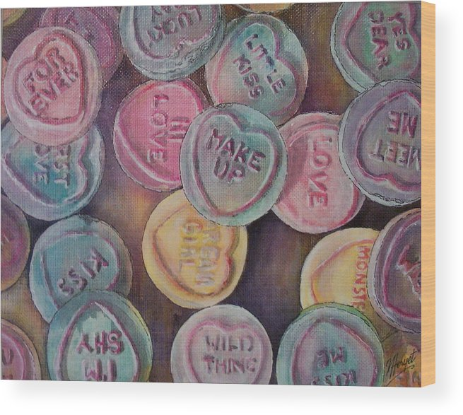 Candy Wood Print featuring the painting Love Hearts by Victoria Heryet