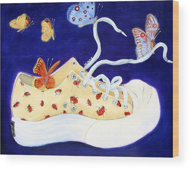 Running Shoes Wood Print featuring the painting Lucky Lady Bug Shoe by Minaz Jantz