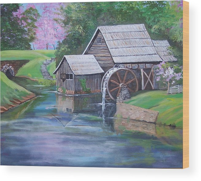 Landscape Wood Print featuring the painting Mabry Mill by Audrie Sumner