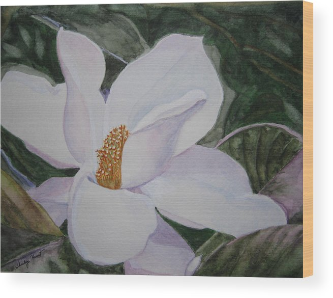 Nature Wood Print featuring the painting Magnificent Magnolia by Shirley Braithwaite Hunt