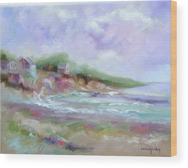 Maine Coastline Wood Print featuring the painting Maine Coastline by Ginger Concepcion