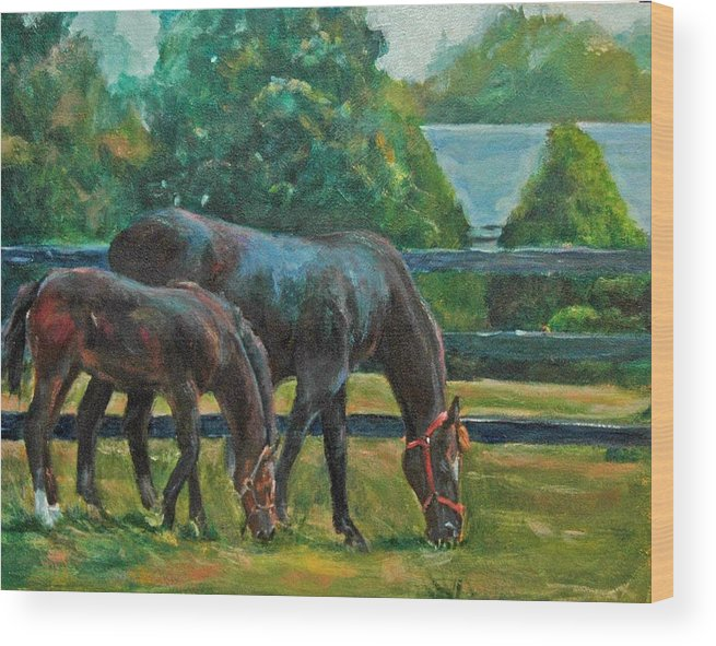 Equine Art Wood Print featuring the painting Mare And Foal by Stephanie Allison