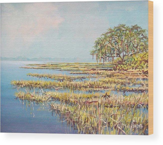Marsh. Nature Wood Print featuring the painting Marshland by Sinisa Saratlic