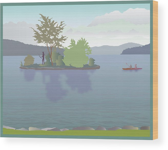 Lake Wood Print featuring the painting Meredith Bay by Marian Federspiel