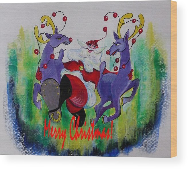 Merry Christmas Card Wood Print featuring the painting Merry Christmas by Anna Duyunova
