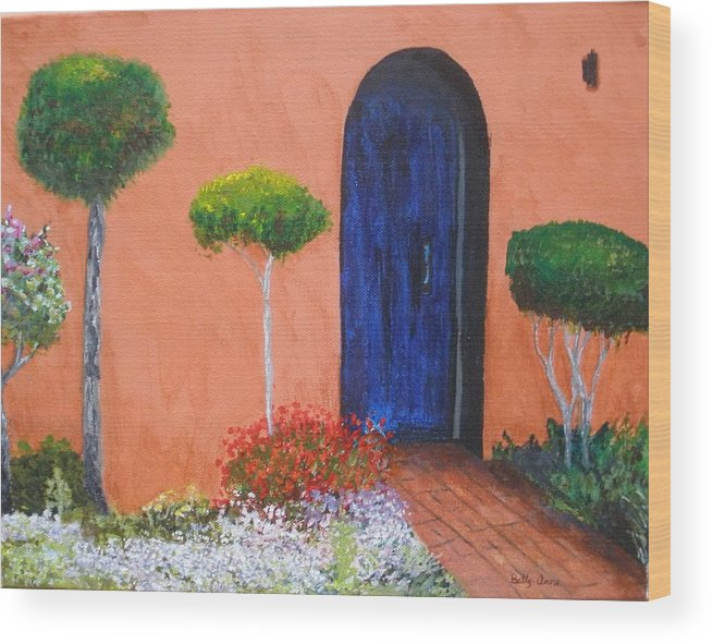 New Mexico Wood Print featuring the painting Mesilla Door by Betty-Anne McDonald