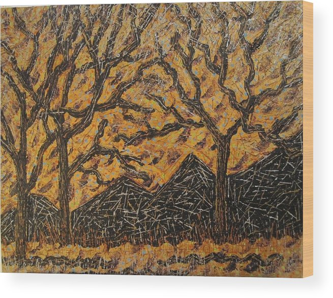 Nature Wood Print featuring the painting Metallic Trees And Mountains by Sharon De Vore