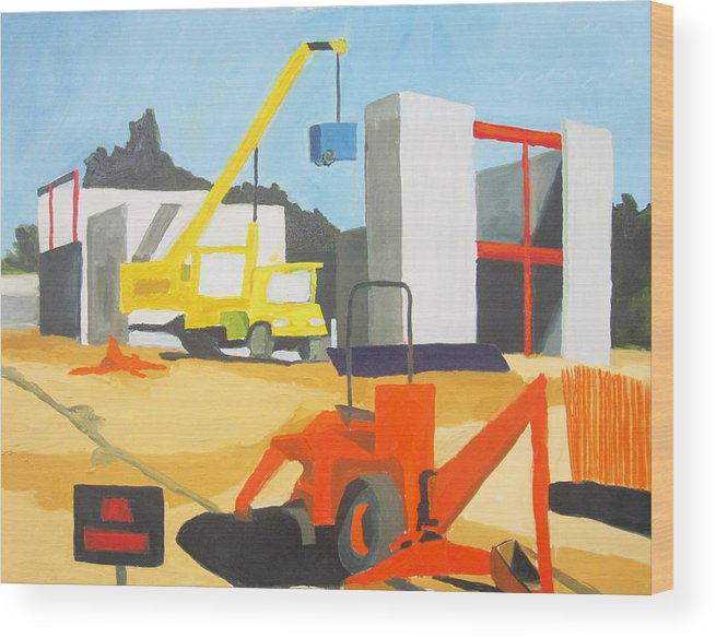 Construction Wood Print featuring the painting Micheles And Booth Construction Pensacola by Jahna Jacobson