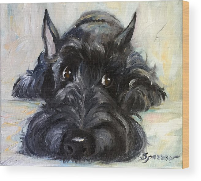 Scottie Wood Print featuring the painting Mischief by Mary Sparrow
