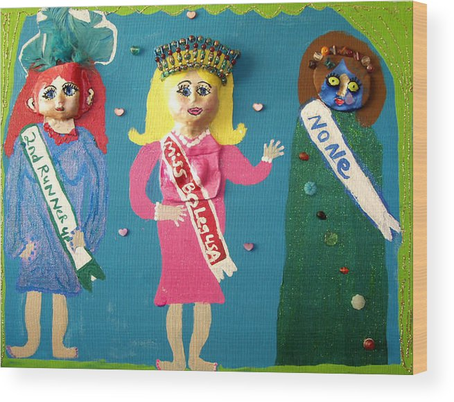 Wood Print featuring the mixed media Miss Bo Leg Usa by Betty Roberts