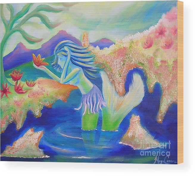 Mermaid Wood Print featuring the painting Molly Mermaid by Morgan Leshinsky