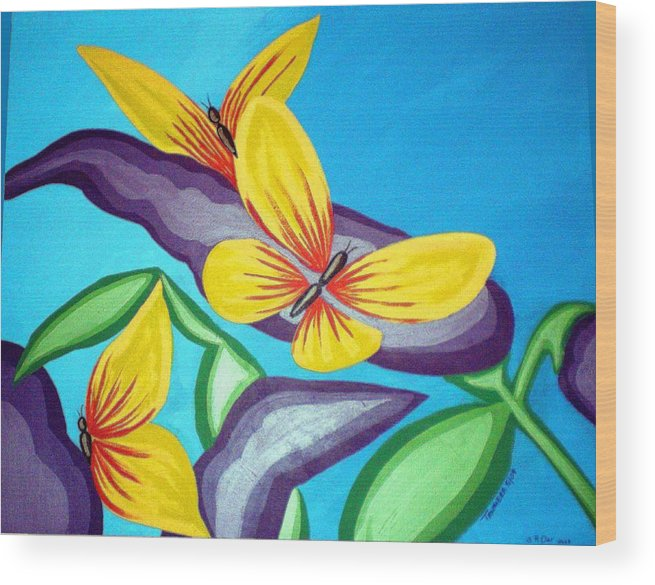 Butterflies Wood Print featuring the painting Mom And Me And Butterflies Too by Tammera Malicki-Wong