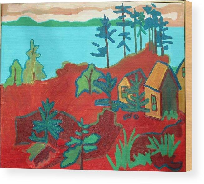 Beach Wood Print featuring the painting Monhegan Hue by Debra Bretton Robinson