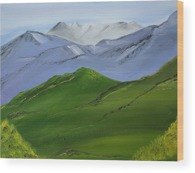 Landscape Wood Print featuring the painting More Mountains by Liz Vernand