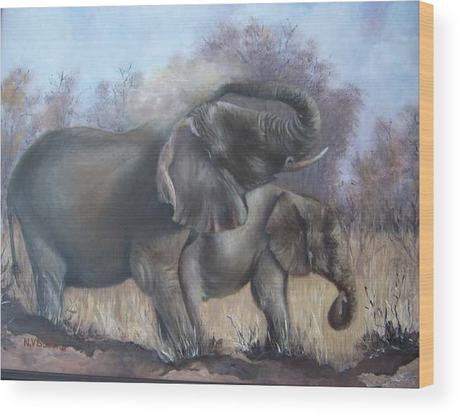 Elephants Wood Print featuring the painting Mother And Child by Nellie Visser