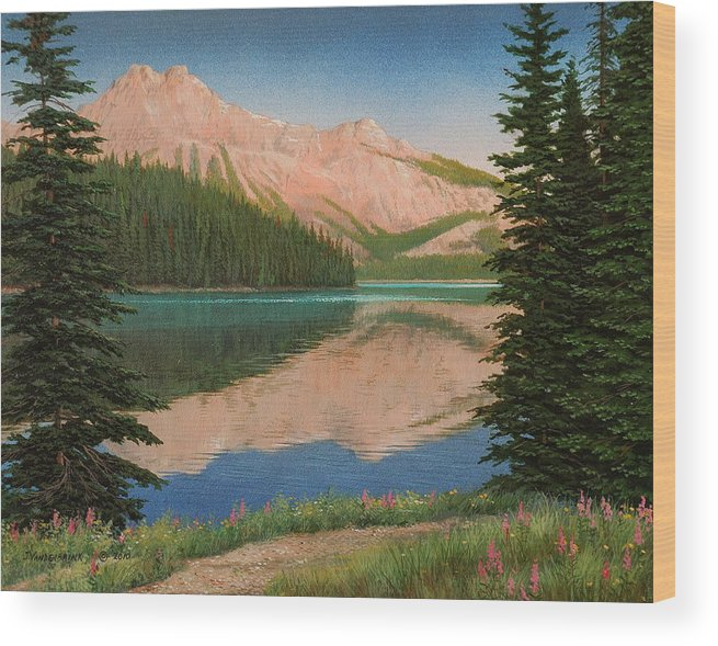 Landscape Wood Print featuring the painting Mountain Glow by Jake Vandenbrink