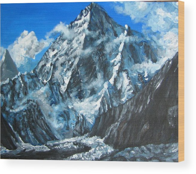 Mountains Wood Print featuring the painting Mountains View Landscape Acrylic Painting by Natalja Picugina