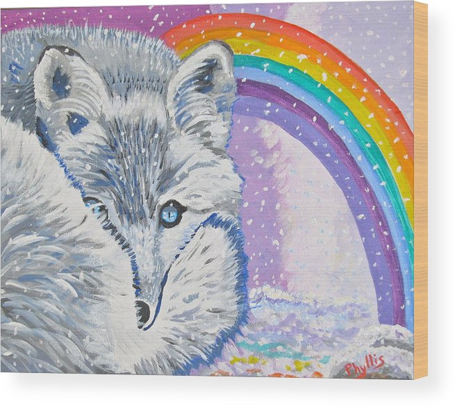 White Fox Wood Print featuring the painting My Artic Fox by Phyllis Kaltenbach
